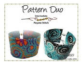Beading Pattern, Instructions, Tutorial, Bead Chart Word Chart peyote cuffs Instant Download DUO PACK