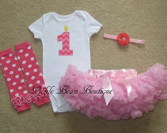 READY TO SHIP, 9 mo, Pink Chevron, 1st Birthday Girl Outfit, Bodysuit, Pink Pettiskirt Tutu, Leg Warmers, Baby Girls First Birthday Outfit