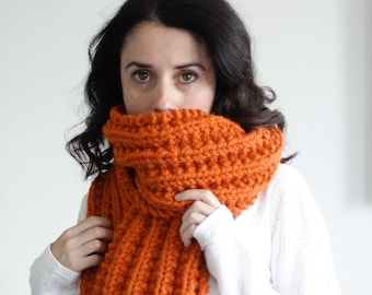 Long Knit Scarf, Large Chunky Scarf,Open Ended Scarf, Ribbed Winter Scarf/PUMPKIN/THE BRUNSWICK