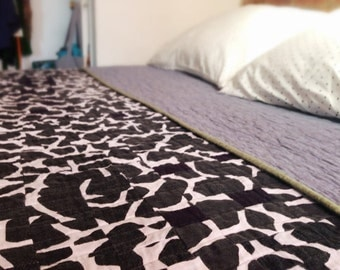 Queen-sized quilt Grafton Notch quilt | black and white handmade hand-sewn improv modern quilt