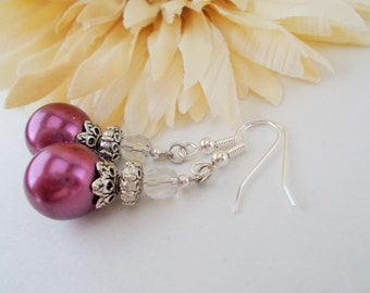 Mauve Pearl Earrings, Bridal Earrings, Clip On Earrings, Wedding Earrings, Crystal Earrings, Dusty Rose Earrings, Pearl Drop Earrings