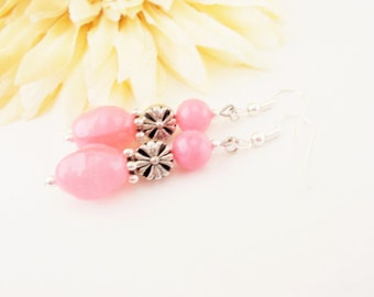 Blush Pink Bridal Earrings, Pink Agate Earrings, Boho Earrings, Glass Drop Earrings, Pink Earrings, Beaded Dangle Earrings, Clip On Earrings