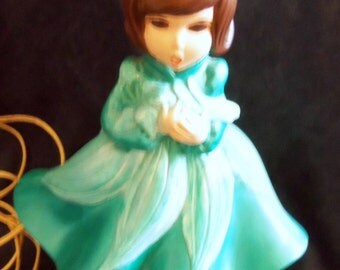 Atlantic Mold Ceramic Doll Light, Teal with Aqua Accents and Mauve Lamp Shade, Vintage