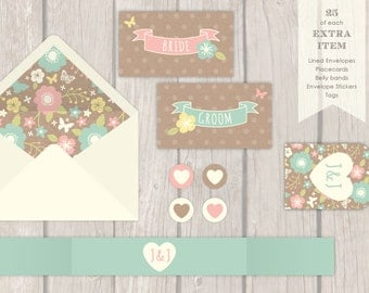 """25 - 100 """"Floral"""" Wedding Stationery Accessories"""