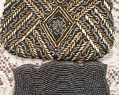 2 Vintage Black Heavily Beaded Purses Tulip-shaped Evening Bags