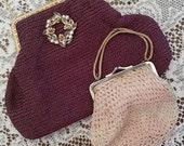 Two Handmade Crocheted Evening Handbags with Handles