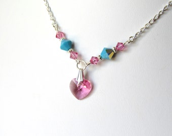 Girls Crystal Heart Necklace, Pink, Turquoise, Sterling Silver, Childrens Jewelry, Kids Jewelry, Back to School, Flower Girl Gift Necklace