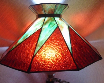 Antique Mission Arts & Crafts Stained Slag Glass Lamp Shade