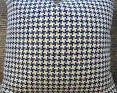 Designer Pillow Cover - Lumbar, 16 x 16, 18 x 18, 20x 20, 22 x 22, 24 x 24 - Houndstooth Blue