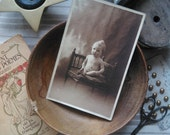 "Antique french card photography little girl on chair : ""Josette"" 1924"
