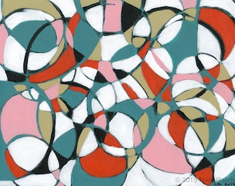 "original abstract expressionist art acrylic painting on canvas sheet 12""x16""  black white red teal green pink modern art circles shapes"