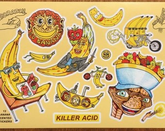 Banana Stickers (scratch 'n' sniff)