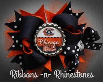 Chicago Bears Boutique Hair Bow, Layered Hair Bow, Stacked Bow, Chicago Bears Bow