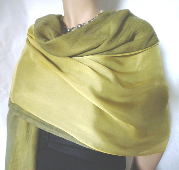 Sample Sale - SILK on CASHMERE SHAWL- One of a Kind Solid Silk Satin Finished Chiffon & Cashmere Voile (Item H-049s)