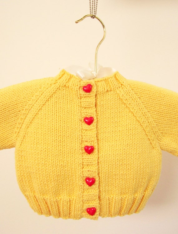 Baby Girl Sweater, Yellow Baby Sweater, Baby Shower Gift, Infant Sweater, Newborn Buttoned Sweater, Hand Knit Sweater, Knitted Cardigan