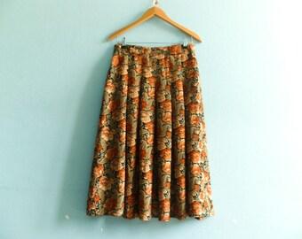 Vintage floral skirt / black brown green / pleated / high waisted / midi / medium