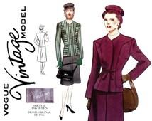 1940s Womens Suit Pattern Uncut Bust 40 Vogue 2199 Vintage 1946 War Era Reissue Princess Seam Evening Jacket & Skirt Vintage Sewing Patterns