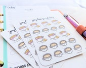Planner stickers, BRUNCH and COFFEE dates, writable accessories for your Erin Condren, Kikki K, Filofax, Kate Spade planner