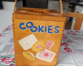 Cute Vintage Cookie Jar Pail with Handle Painted Cookies EUC Japan