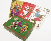 Set of 5 Unused Vintage Novelty Birthday Cards for Kids in Original Box, Vintage Children's Birthday Cards, Green Pasteboard Box, Clown Box