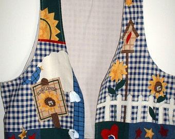 Cotton Vest Panel, Country Garden, Birdhouse, Flowers, Women's Vest to Sew, LAST ONE. Clearance