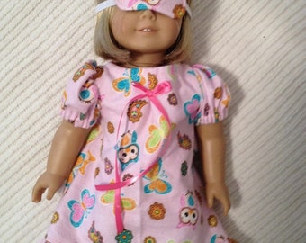 18 inch doll (modeled by American Girl) pink owl nightgown and eye mask