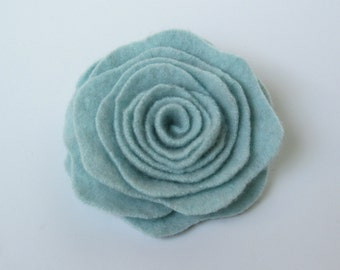 New Small Pale Mint Green Cashmere Rose Flower Pin Felted Wood Floral Brooch