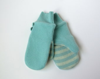 Cashmere Wool Mittens Fleece Lined Mint Green Recycled Wool Sweater Mittens