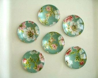 Light Green Blue Pink Flower Round Glass Magnet, Green Blue Pink Color Fridge Magnet, GreennBlue Round Magnet - 6 PCS