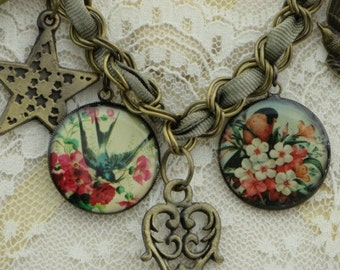 VICTORIAN Birds Charm NECKLACE with Key - Star - Heart and Bird CHARMS