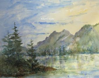 Original Watercolor Landscape Painting 11X15, watercolor painting, watercolor art, landscape painting, mountain painting, mountain landscape