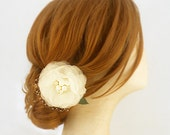 Pure Silk Bridal Fascinator with Netting, Flower Fascinator, Bridal Headpiece Ivory Bridal Hair Piece Freshwater Pearl Bridal Hair Accessory