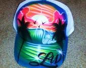 Airbrush Trucker Hat With Beach Scene, Airbrush Beach Hat, Beach Scene Hat, Airbrush Trucker Hat, Beach Hat, Beach Scene, Airbrush Hat