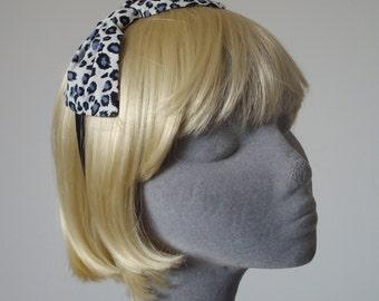 Blue Headband- Blue Leopard Bow Headband