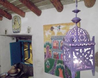 LILAC MOROCCAN LANTERN, 30 cm high, outdoor, indoor use, alfresco dining, weddings, Mediterranean