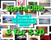 Sale, Choose any 3 Small Matted Prints, Photography Matted Prints, Ready for framing in 5x7 inch frame