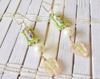 Edwardian Style Dangle Earrings, Light Green Patina, Long, Beaded, Pale Pink, Rhinestones, Upcycled Vintage, Pearls earrings, Pastel drops