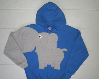 Hooded pullover elephant sweatshirt, elephant hoodie, elephant shirt, trunk sleeve, Royal Blue, Adult size medium