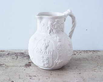 Rare Victorian Commemorative Prince of Wales Pitcher Jug Stoneware William Brownfield Albion Colbridge - circa 1863 - UK Royal Coats of Arms