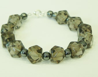 Smoky quartz and hematite gemstone bracelet|Sterling silver clasp|brown gemstone|metallic gemstone|brown and grey|smoky quartz bracelet