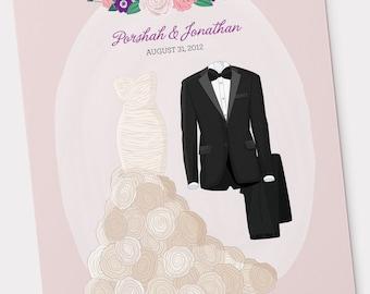 Bride & Groom Custom Wedding Illustration  - Wedding Attire, Wedding Dress and Suit, Wedding Anniversary Gift, Wedding Invitation