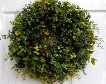Spring Wreath , Boxwood  Wreath , Wreath , Woodland Wreath , Front Door , Wreath , Primitive Wreath , Year Round
