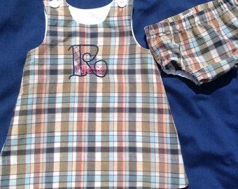 Little girls classic jumper, madras plaid, jumper, FREE SHIPPING, FREE monogram, 100% cotton,jumper, girls dress, babies, children's clothes