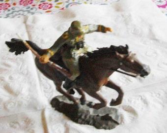 Elastolin German Soldier Charging on Horse