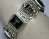 Mexican Alpaca Silver, Black Onyx Glass Faces Bracelet, Mid Century era