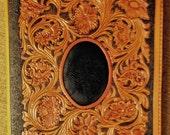 SALE!  Leather Portfolio with Lizard Skin Inset