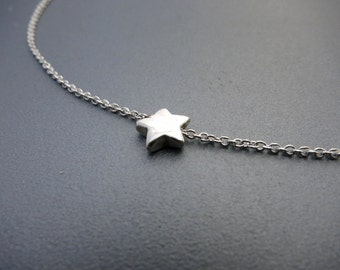 Tiny Silver Star Necklace Simple Silver Necklace