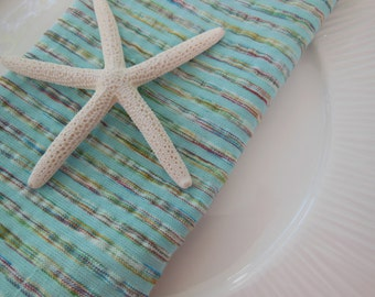 Green Napkins - Striped Cloth Napkins - Set of Four - Mint Green with a Varigated Stripe Napkins by Pillowscape Designs