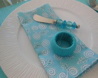 Aqua Cloth Napkins - Set of Four - Aqua Scroll Leaf Design Napkins by Pillowscape Designs - Aqua, White and Turquoise - Spring Napkins