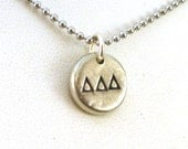 Delta Delta Delta Pewter Pebble Necklace - Official Licensed Product for Tri Delta